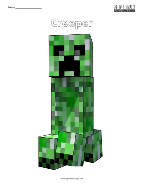 Creeper- Minecraft free coloring