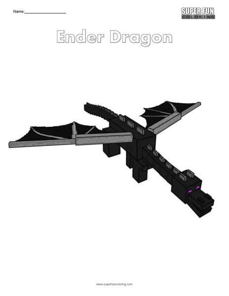 Ender Dragon- Minecraft Free Coloring