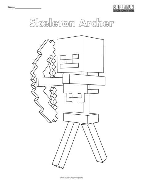 Skeleton Archer  Minecraft Coloring ...