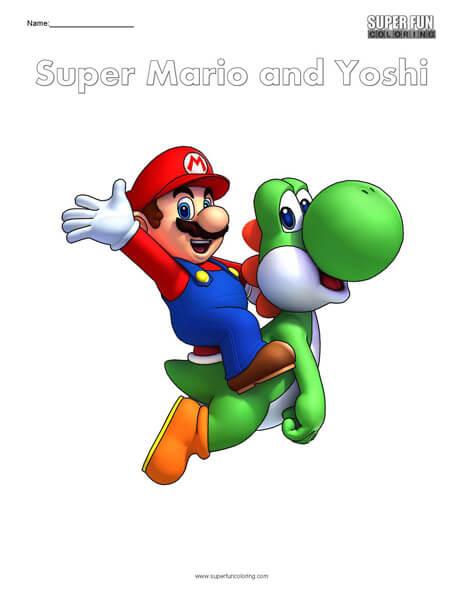 Super Mario and Yoshi- Nintendo Coloring