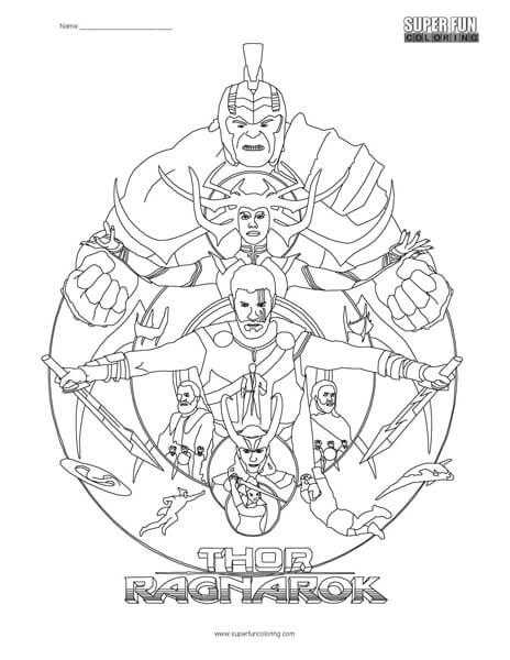 Thor Ragnarok Coloring Page Super Fun Coloring