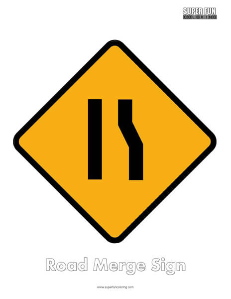 Road Merge Sign Coloring Page Free