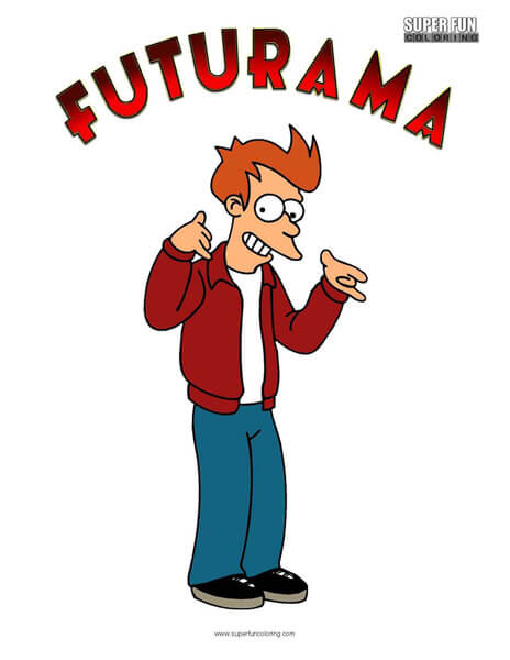 Fry Futurama Coloring Sheet