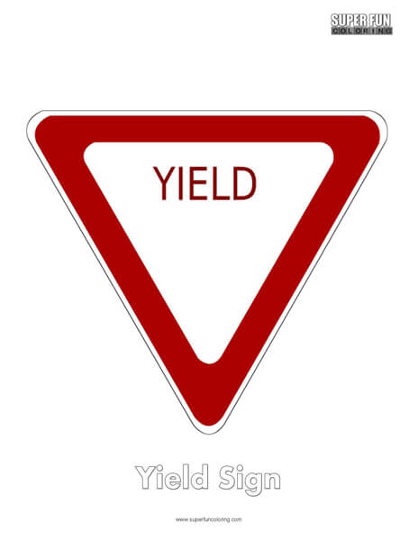 Yield Sign Coloring Page Free