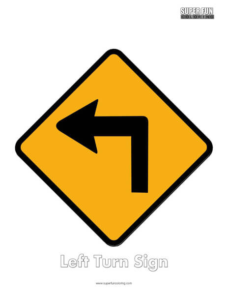 Left Turn Sign Coloring Page Free