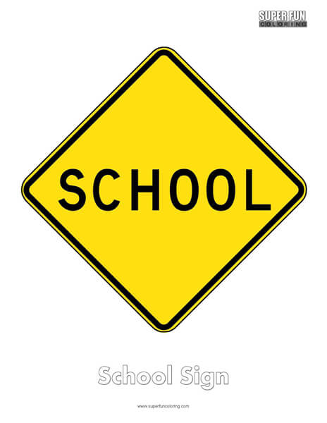 School Sign Coloring Page Free