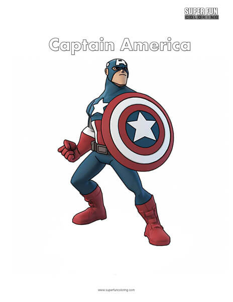 Captain America Free Superhero character Coloring Page