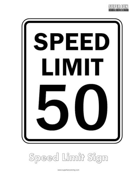 Speed limit Sign Coloring Page Free