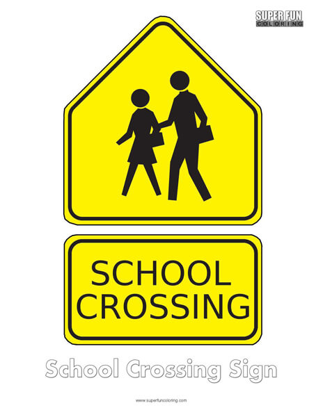 School Crossing Sign Coloring Page Free