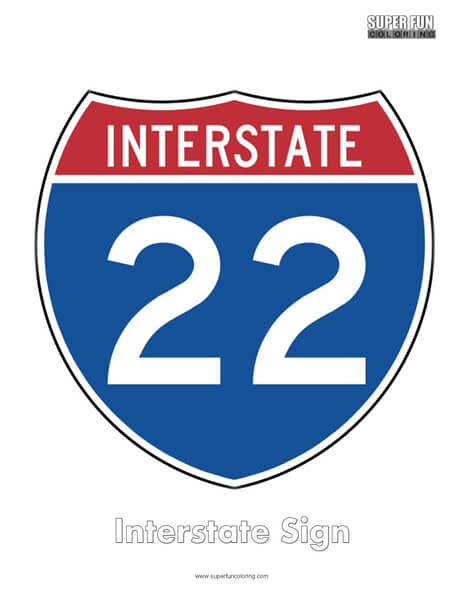 Interstate Sign Coloring Page Free
