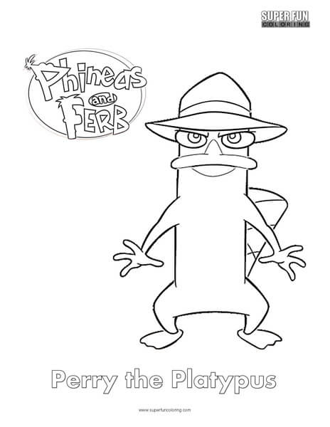 Perry the platypus phineas and ferb coloring super fun for Coloring pages of perry the platypus from phineas and ferb
