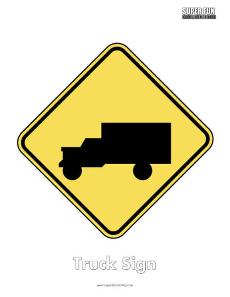 Truck Sign Coloring Page Free
