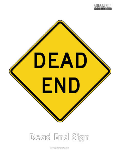 Dead End Sign Coloring Page Free