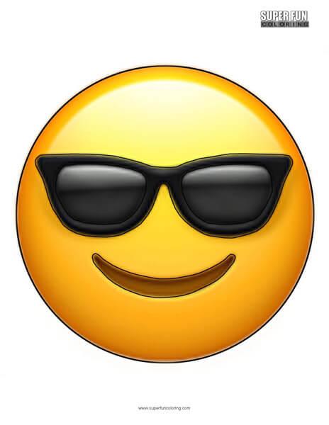 Sunglasses Emoji Coloring Sheet