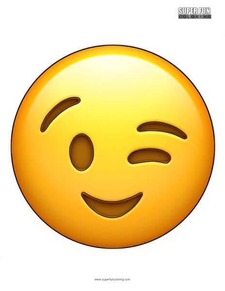 Wink Emoji Coloring Sheet