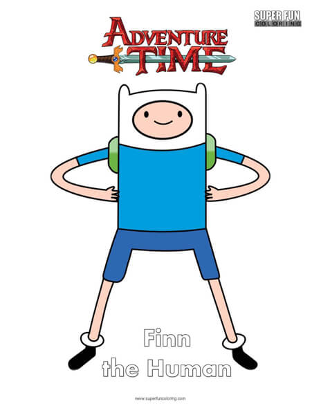 Finn the Human Adventure Time Coloring Page