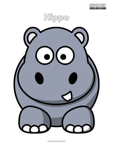Cartoon Hippo Coloring Page Free