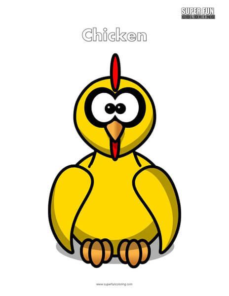Cartoon Chicken Coloring Page Free