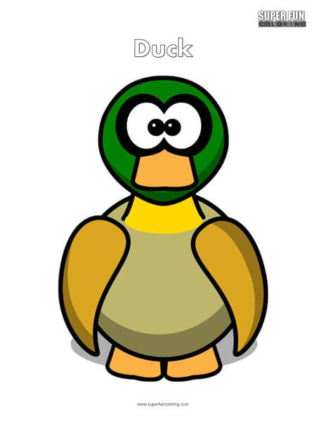 Cartoon Duck Coloring Page Free
