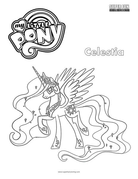 Celestia My Little Pony Coloring Page Super Fun Coloring