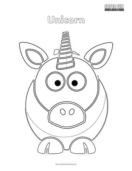 Cartoon Unicorn Coloring Page Super Fun Coloring