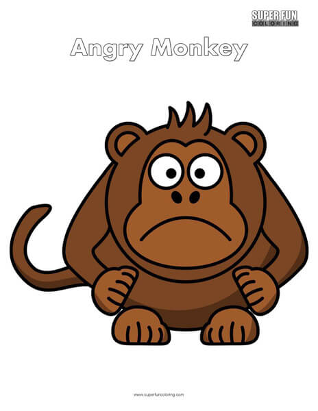 Cartoon Angry Monkey Coloring Page Free