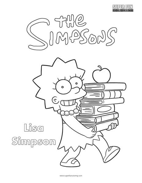 coloring pages lisa simpson trumpet | Lisa- The Simpsons Coloring Page - Super Fun Coloring