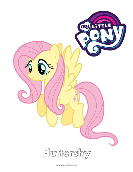 Fluttershy My Little Pony Coloring Page Super Fun Coloring
