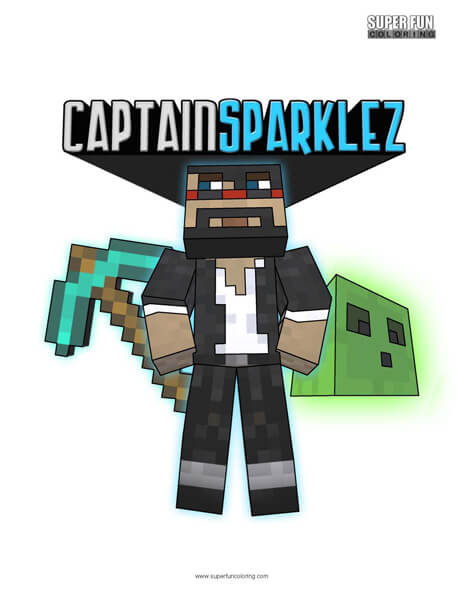 Captain Sparklez Coloring Page