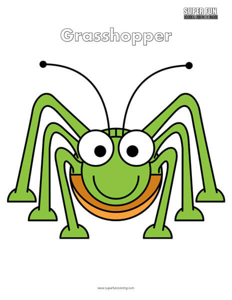 Cartoon Grasshopper Coloring Page Free