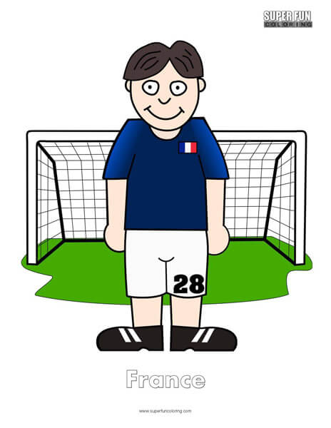 France Cartoon Football Coloring Page