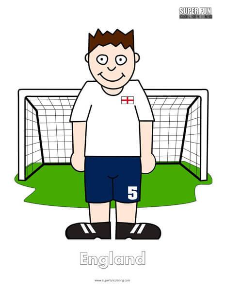 England Cartoon Football Coloring Page