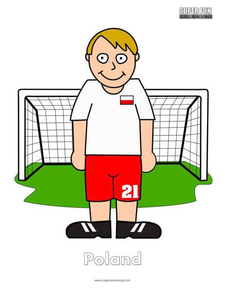 Poland Cartoon Football Coloring Page