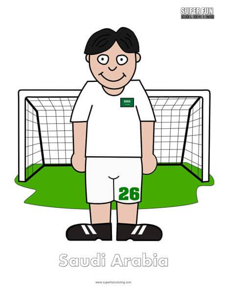 Saudi Arabia Cartoon Football Coloring Page