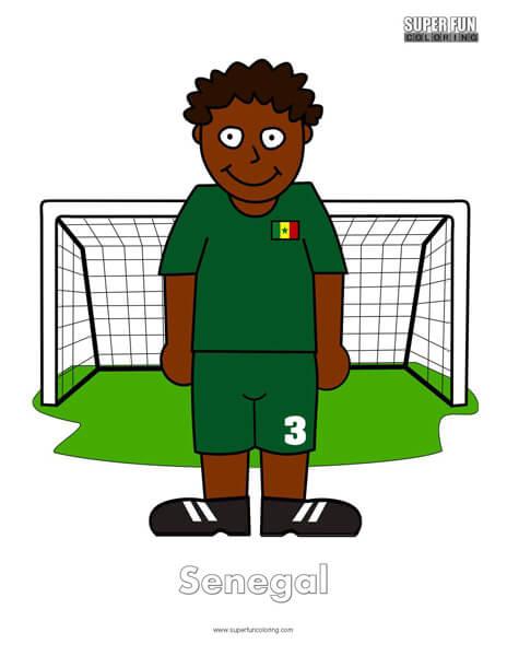 Senegal Cartoon Football Coloring Page