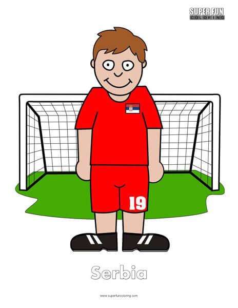 Serbia Cartoon Football Coloring Page