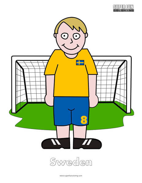 Sweden Cartoon Football Coloring Page