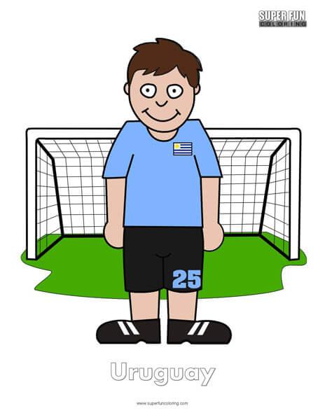 Uruguay Cartoon Football Coloring Page