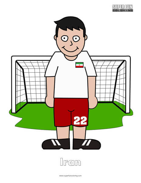 Iran Cartoon Football Coloring Page
