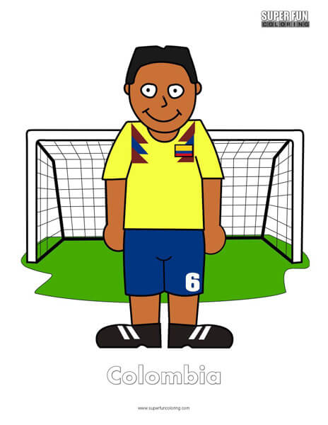 Colombia Cartoon Football Coloring Page
