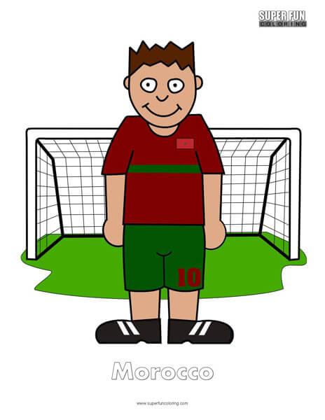 Morocco Cartoon Football Coloring Page