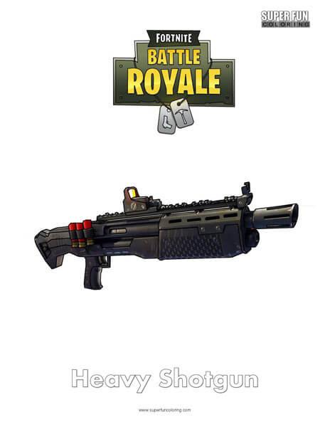 Heavy Shotgun Fortnite Coloring Page