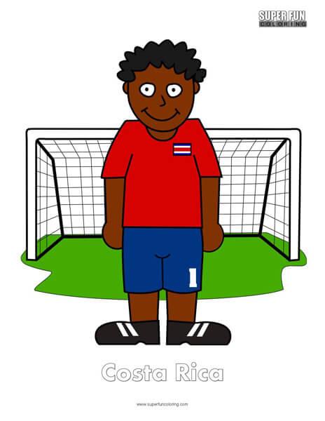 Costa Rica Cartoon Football Coloring Page