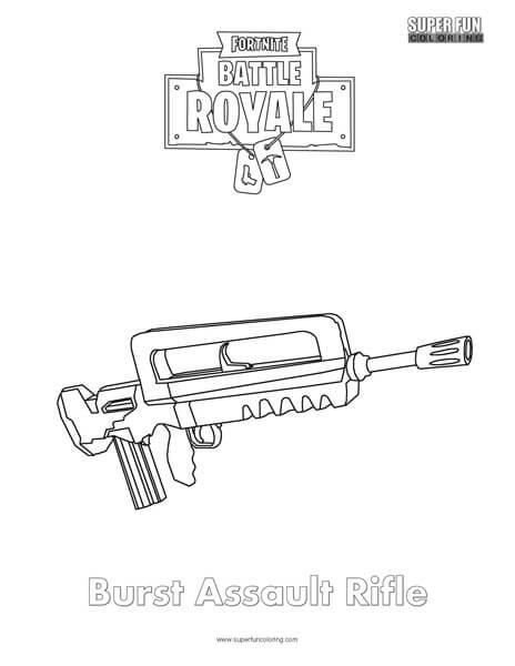 Burst Assault Rifle Coloring Super Fun Coloring