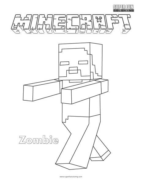 Minecraft Zombie Coloring Page