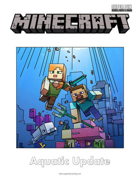 Minecraft Aquatic Update Coloring Page