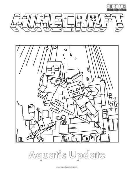 Minecraft Aquatic Update Coloring Page Super Fun Coloring