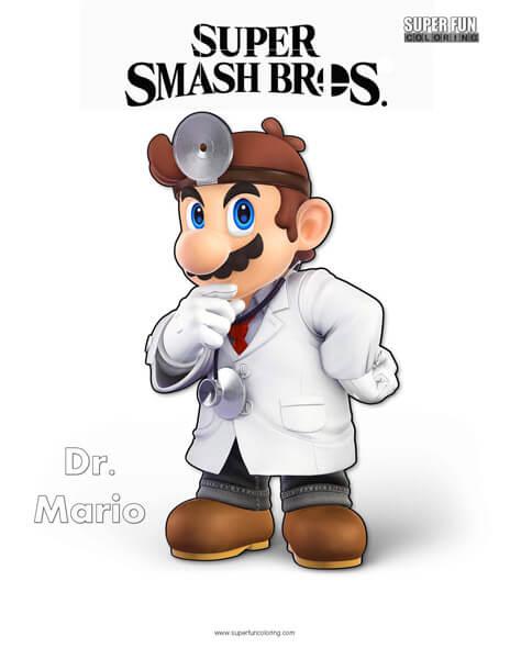 Dr. Mario- Super Smash Bros. Ultimate Nintendo Coloring Page