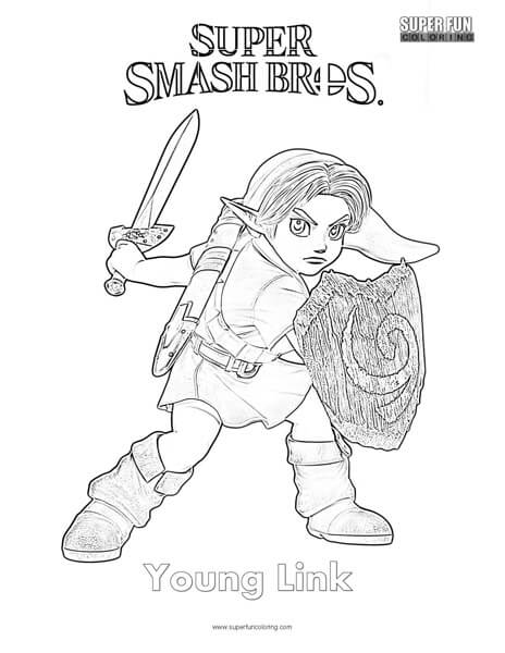 Young Link- Super Smash Brothers Coloring Page - Super Fun Coloring