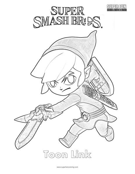 Toon Link- Super Smash Brothers Coloring Page - Super Fun Coloring